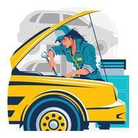 Woman Mechanic Repairing Car in Automotive Concept vector
