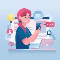 Woman Interacting With Technology vector