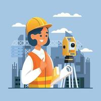 Engineer Working On Construction vector