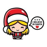 cute girl wearing santa hat vector