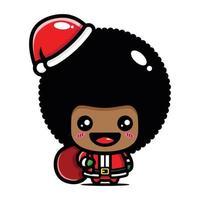 cute afro boy wearing santa costume vector
