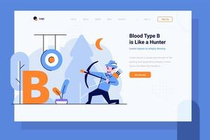 Landing Page Health medical blood type B Hunter archer shoot arrows on a target flat and outline design style vector