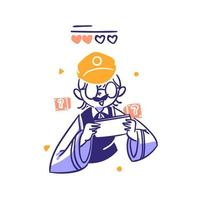 People Play Phone Game Online concept Illustration in Outline Hand Drawn Design Style vector