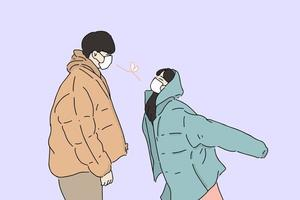 Hand-drawn illustration of couple wearing face mask looking at each other vector
