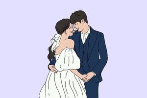 Hand drawn style vector design illustrations of wedding couple