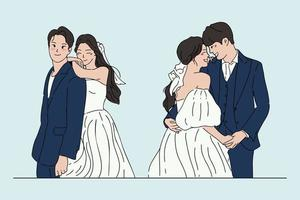 Hand drawn style vector design illustrations of wedding couple.