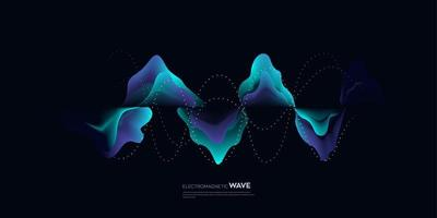 Electromagnet wave vector element with abstract blue lines background in concept of technology, science, digital network.
