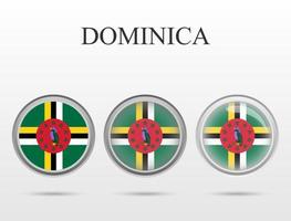 Flag of Dominica in the form of a circle vector
