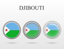 Flag of Djibouti in the form of a circle vector