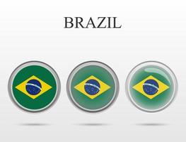 Flag of Brazil in the form of a circle vector