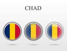 Flag of Chad in the form of a circle vector