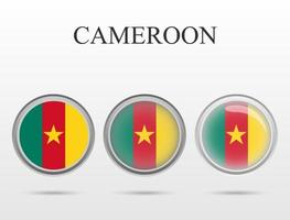 Flag of Cameroon in the form of a circle vector