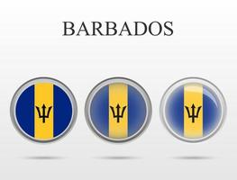 Flag of Barbados in the form of a circle vector