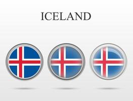 Flag of Iceland in the form of a circle vector