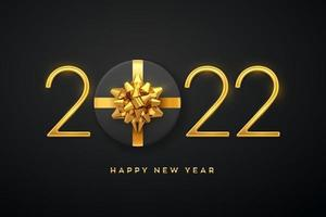 Happy New 2022 Year. Golden metallic luxury numbers 2022 with gift box with golden bow on black background. Realistic sign for greeting card. Festive poster or holiday banner. Vector illustration.