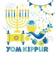 Yom Kippur greeting card with candles, apples and shofar and sybols. Jewish holiday background. Vector illustration on white. Translation in Enhlish of atonement day.