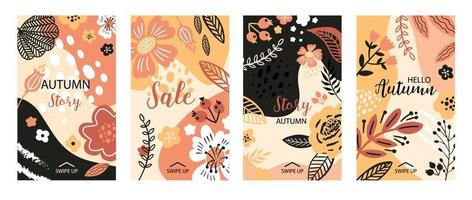 Vector floral banner for social media stories, sale autumn illustration. Flat flowers, petals, leaves doodle elements. Use for event invitation, discount voucher, advertising. Collage style.