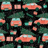 Vector seamless pattern with red car and Christmas tree on black. Christmas picture. Red pickup. New year illustration surface delivery service.