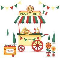 carrito de comida callejera de pizza. Ilustración de vector colorido, estilo de dibujos animados, en paisaje italiano.