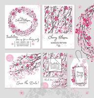 sakura, japón, cereza, rama, conjunto, invitación, diseño, bandera, wreatht, con, florecer, flores, acuarela, estilo, vector, illustration. vector