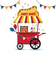 Retro hot dog cart mobil fast food vector flat illustration