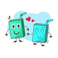 An illustration of cute drink falling in love. vector