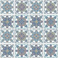 Round mandala seamless pattern. Arabic, Indian, Islamic, Ottoman ornament. Blue floral pattern, motif. Vector illustration.