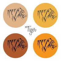 A group of Tiger Avatars side view vector
