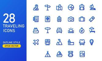 A collection of traveling and vacation icons. Suitable for design elements of tourism app UI and UX. Traveling icon set in outline style. vector