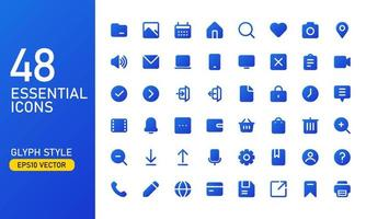 A collection of frequently used essential icons. Suitable for design elements of UI and UX. Essential icon set in glyph style. vector