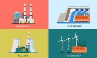 A collection of flat illustrations of geothermal, nuclear, hydropower and wind power plants. Suitable for design elements of web page backgrounds and eco-friendly renewable energy posters. vector