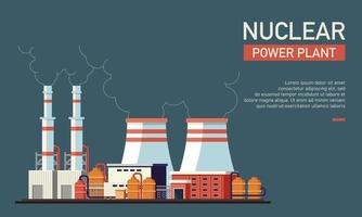 Flat vector illustration of nuclear power plant. Suitable for design element form nuclear company website background, eco friendly and renewable energy infographic.