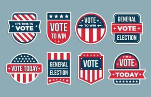 conjunto de pegatinas de elecciones generales de américa vector
