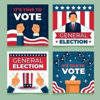 plantilla de redes sociales de elecciones generales de estados unidos vector