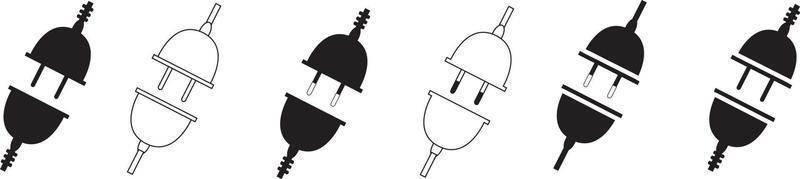 electric plug icon set, socket unplugged electric, vector illustration