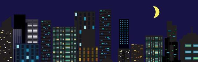 Night city vector illustration. Dark urban scape. Night cityscape in flat style, abstract background.