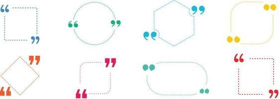 cita en marco con comillas sobre fondo de color. cuadros de cotización de burbujas con corchetes. pancartas para cotización. cuadro de texto aislado para comentario y mensaje. ilustración vectorial. vector