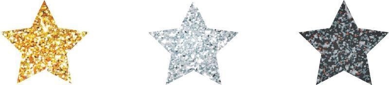 Silver,  golden  and black shiny glitter glowing star with shadow isolated on white background. Vector illustration.