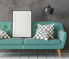 The living room consists of a sofa chair and a picture frame on the wall. photo
