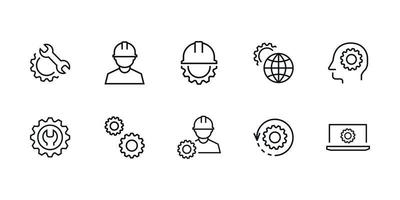 engineering icon set, settings, technology vector isolated for graphic, website and mobile design Free Vector