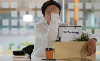 Unemployed people due to virus epidemic, termination of employment, resigned concept. photo