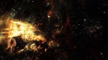 Flight deep space exploration travel to gold cloud Nebula video