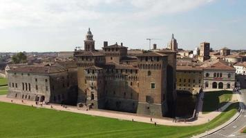 Aerial skyline of Mantua and the medieval castle of Saint George video