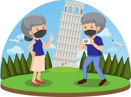 Old couple travelling in Rome during covid-19 pandemic vector