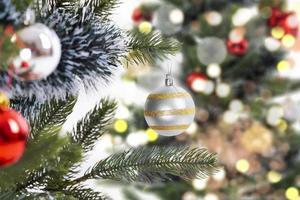 close up christmas tree decoration photo