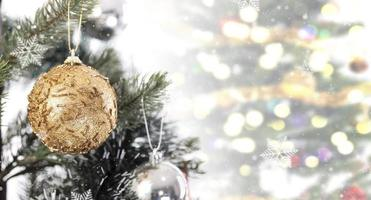 Close-up christmas tree decoration with Abstract color Bokeh background. photo