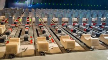Professional audio mixing console with faders in recording studio photo