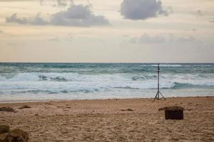 360 degrees video cameras system in filmed production in Palmahim beach in Israel at sunset photo