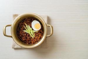 Korean Instant Noodle with Black Bean Sauce - Jajangmyeon or JJajangmyeon photo