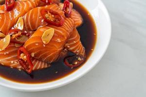 fresh salmon raw pickled in shoyu sauce photo